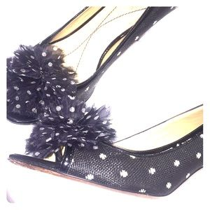 "kate spade Shoes - Kate Spade ""Molly"" black + white peep toe heels"